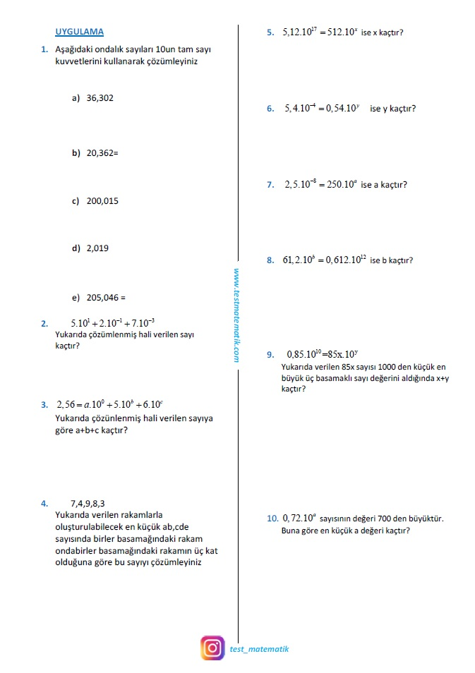 Uslu Sayilar Calisma Kagidi 4 Test Matematik