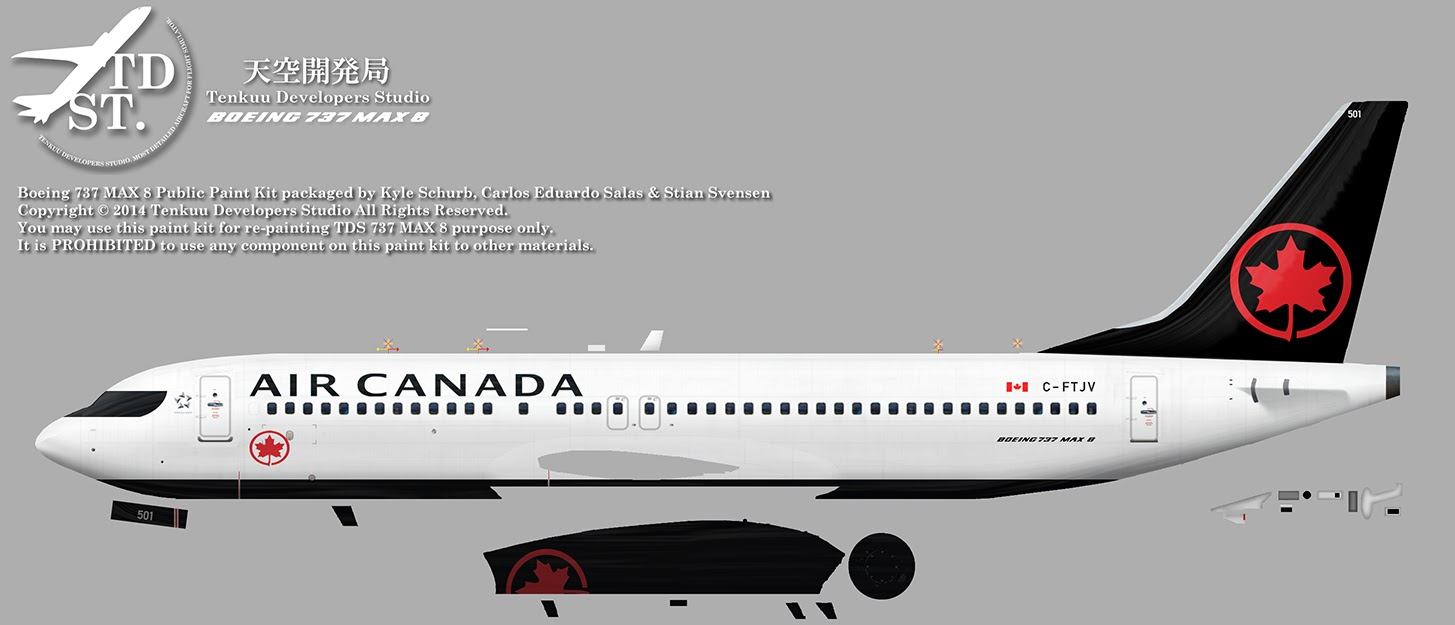 FSRepainter: TDS 737-8 MAX Air Canada C-FTJV