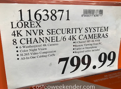 Deal for the Lorex 4K Ultra HD Wired Security System with Color Night Vision at Costco