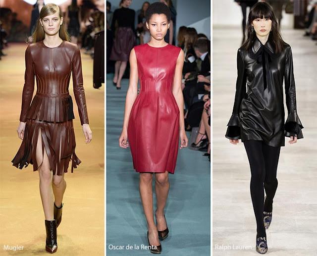 Кожаные платья и блузки с подиума