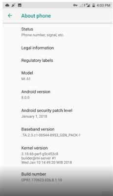 Update Terbaru Xiaomi Android Oreo untuk Mi A1, Memperbaiki Bug Yang Ditemukan di Update Sebelumnya