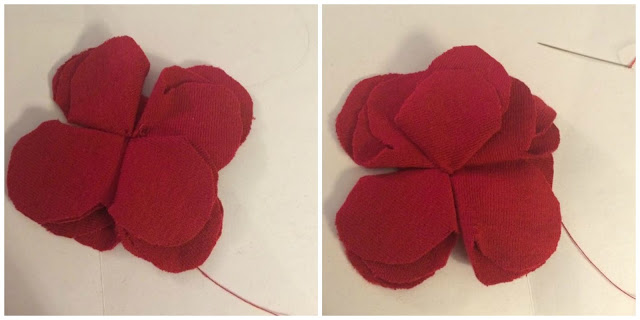 How to sew on petals for tshirt fabric flower.