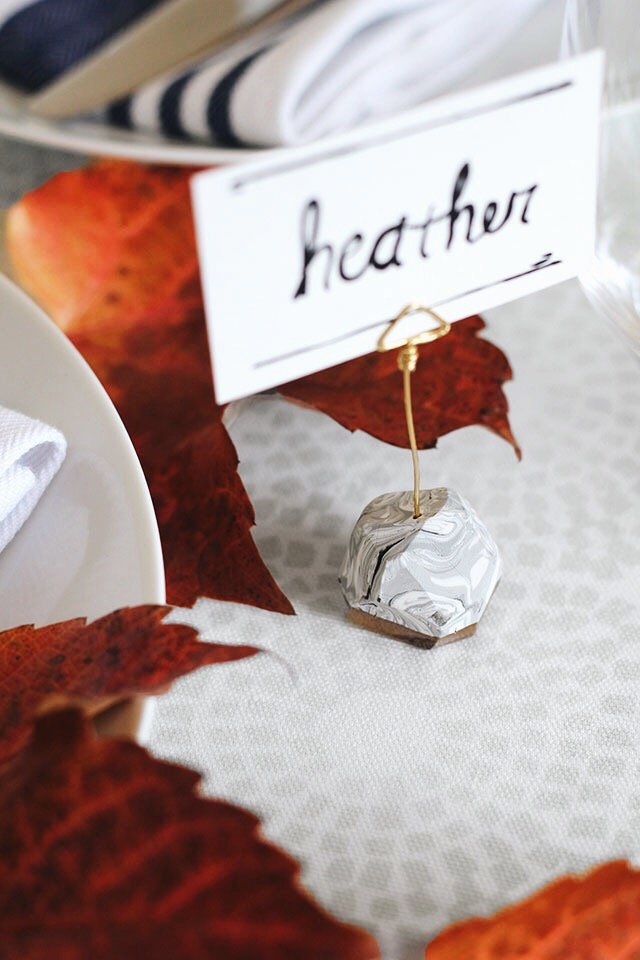 Make your own marbled, gold-leafed place card holders