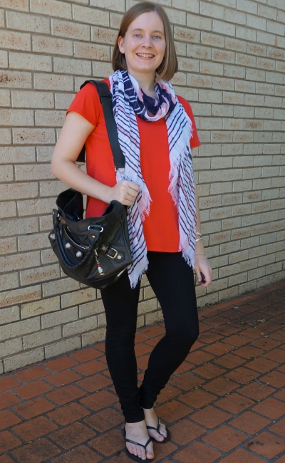 coral tee, black nodbody denim siren skinny jeans, pink navy striped scarf Bal part time | away from blue