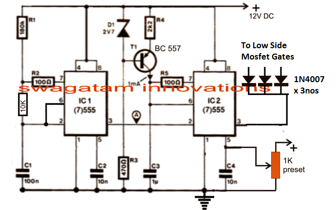 3 phase vfd circuit electronic circuit projects i have already incorporated and explained the functioning of the above pwm generator stage which is basically designed for generating a varying pwm output