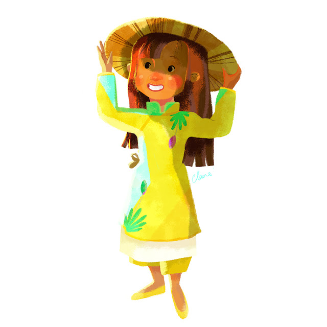 Little Vietnamese Girl Kim by Claire O'Brien Illustration Dazhka Claire