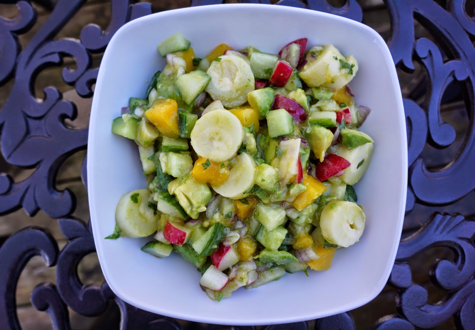 Hearts of palm, mango and avocado salad