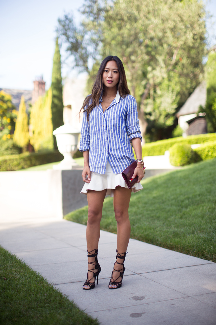 Striped Shirt and Ruffle Skirt | Song of Style - photo#11