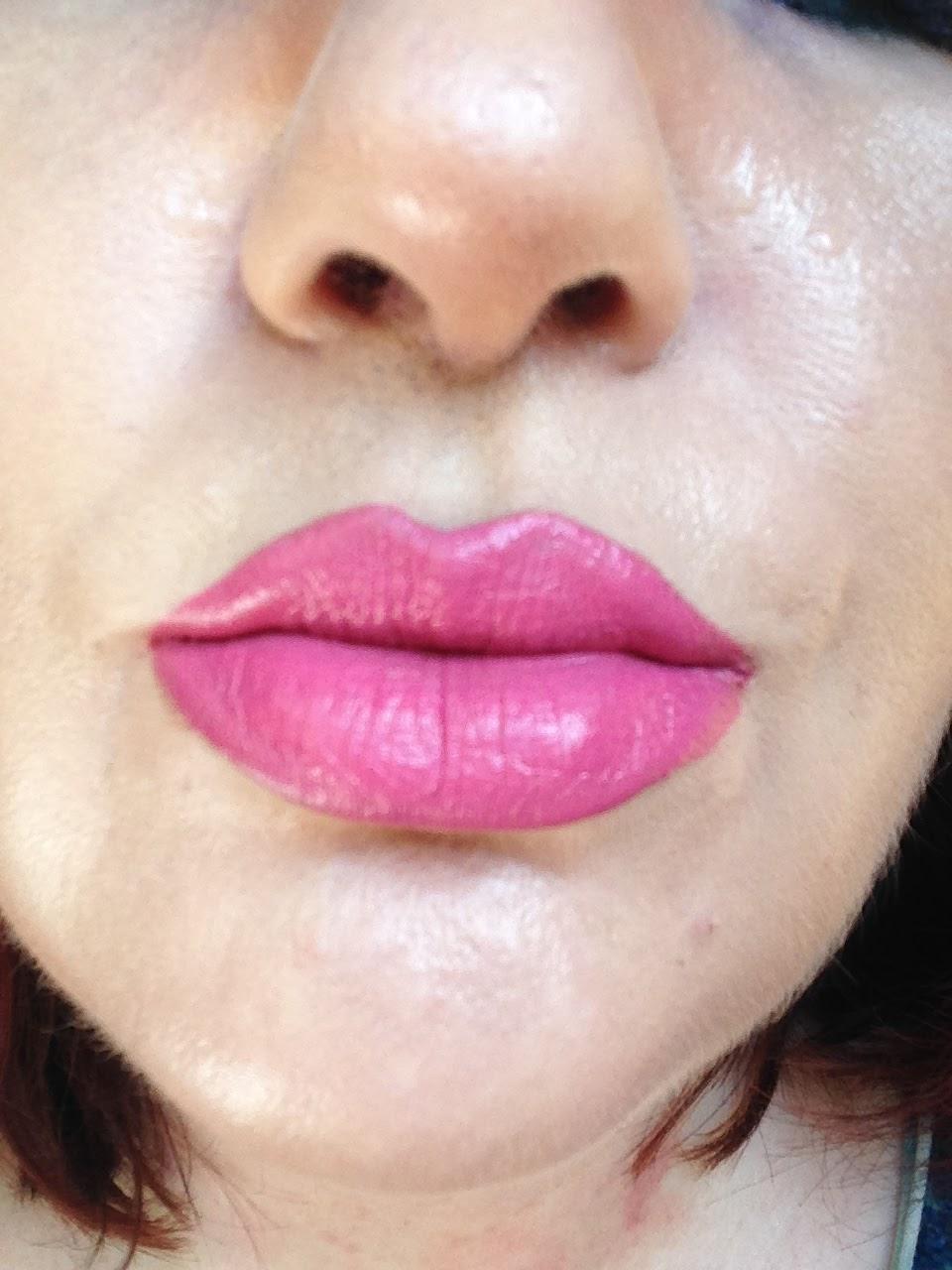 above: wearing NYX Cosmetics Plush Gel Lipstick in Azalea