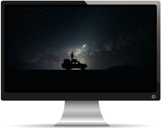 Une Voiture Sous un Ciel Étoilé - Fond d'Écran en Full HD