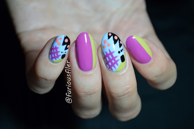 80's nails triangles doodle jazzy colourful