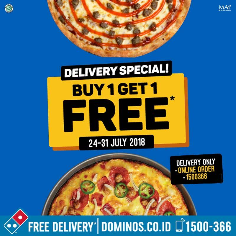 Domino's - Promo Delivery Special Buy 1 Get 1 Free ( s.d 31 Juli 2018 )