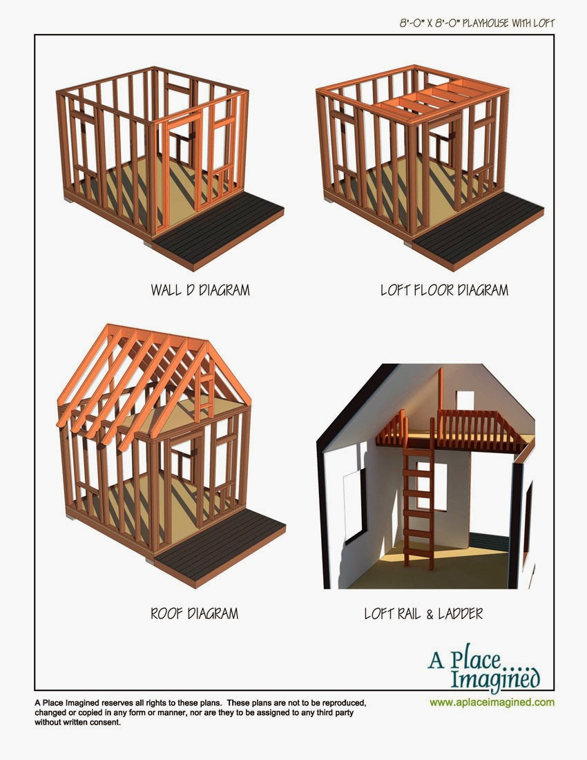 Aplaceimagined 8 39 x8 39 playhouse with loft for Free playhouse blueprints