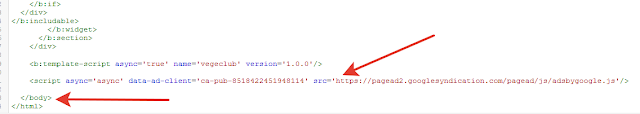 bloggera adsense kodu ekleme