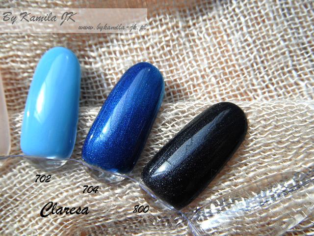 Lakiery hybrydowe Claresa swatche 704 Blue Crocodile 800 Black Mouse