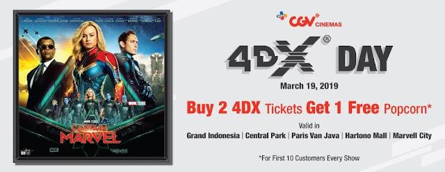 #CGV - #Promo Popcorn Gratis Dengan Beli Tiket 4DX di CGV Tertentu (19 Maret 2019)