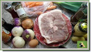 Vie quotidienne de FLaure : Rouelle de porc comme un pot au feu avec navet, carotte, poireau et pomme de terre