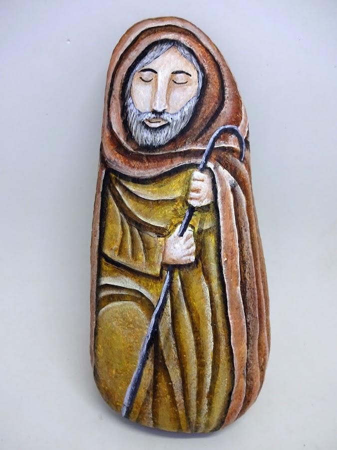 Belén pintado en piedras