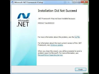 net framework did not succeed حل مشكلة