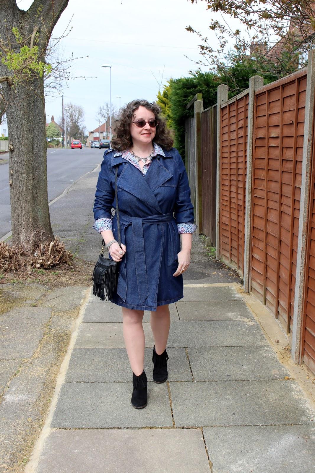 Petite Denim Trench, Warehouse Denim Skirt, Boden Shirt | Petite Silver Vixen
