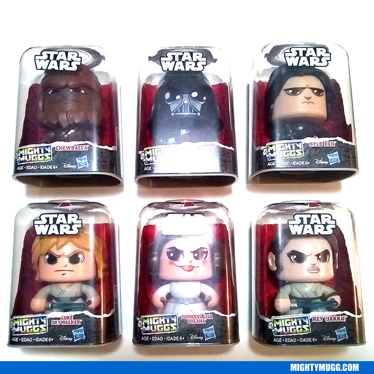 Review Star Wars Mighty Muggs Wave 1 2018 Chewbacca Darth Vader Kylo Ren Luke Skywalker Princess Leia Organa and Rey Jakku