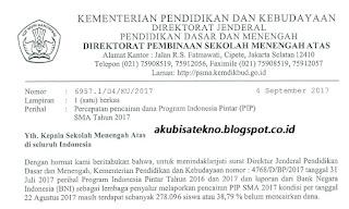 Surat Percepatan Pencairan Dana PIP SMA 2017
