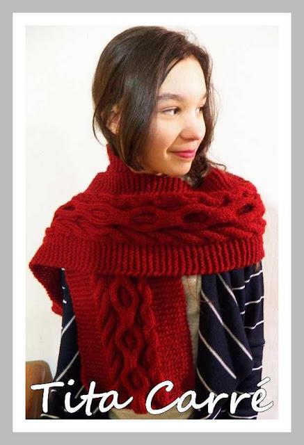 Cachecol Gola e Capuz em tricot