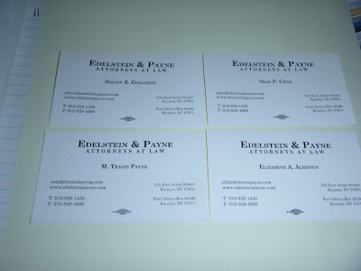 4 white Business cards Workers Compensation Attorneys Edelstein & Payne