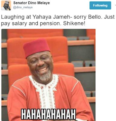"""Dino Melaye shares photo of himself """"laughing"""" at Governor Yahaya Bello"""