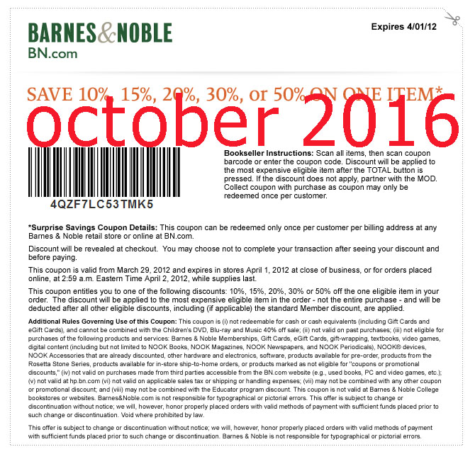 Coupon barnes and noble 2018