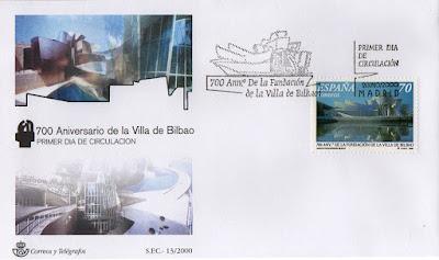 Sobre PDC del sello de los 700 años de la Villa de Bilbao con el museo Guggenheim