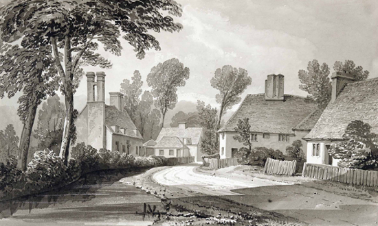 Sketch of Welham Green with the Hope & Anchor on the left. by Buckler c1840 - courtesy of Hertfordshire County Records Office (HCRO)
