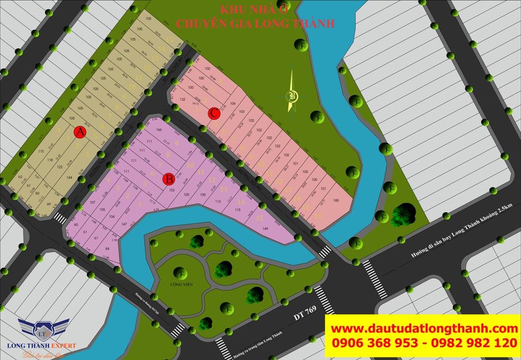 Sơ đồ phân lô dự án khu nhà phố chuyên gia Long Thành Expert