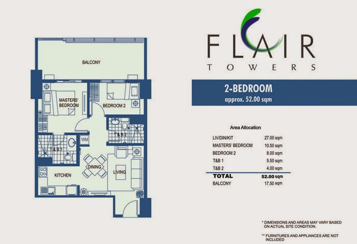 Flair Towers 2 Bedroom Unit 52.00 sqm.