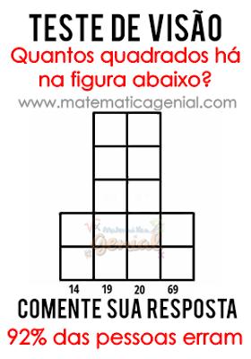Teste de visão - Quantos quadrados há na figura abaixo?