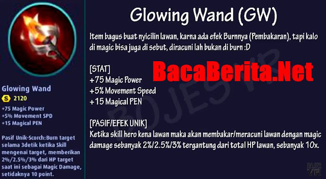 Fungsi item mage Glowing Wand mobile legend