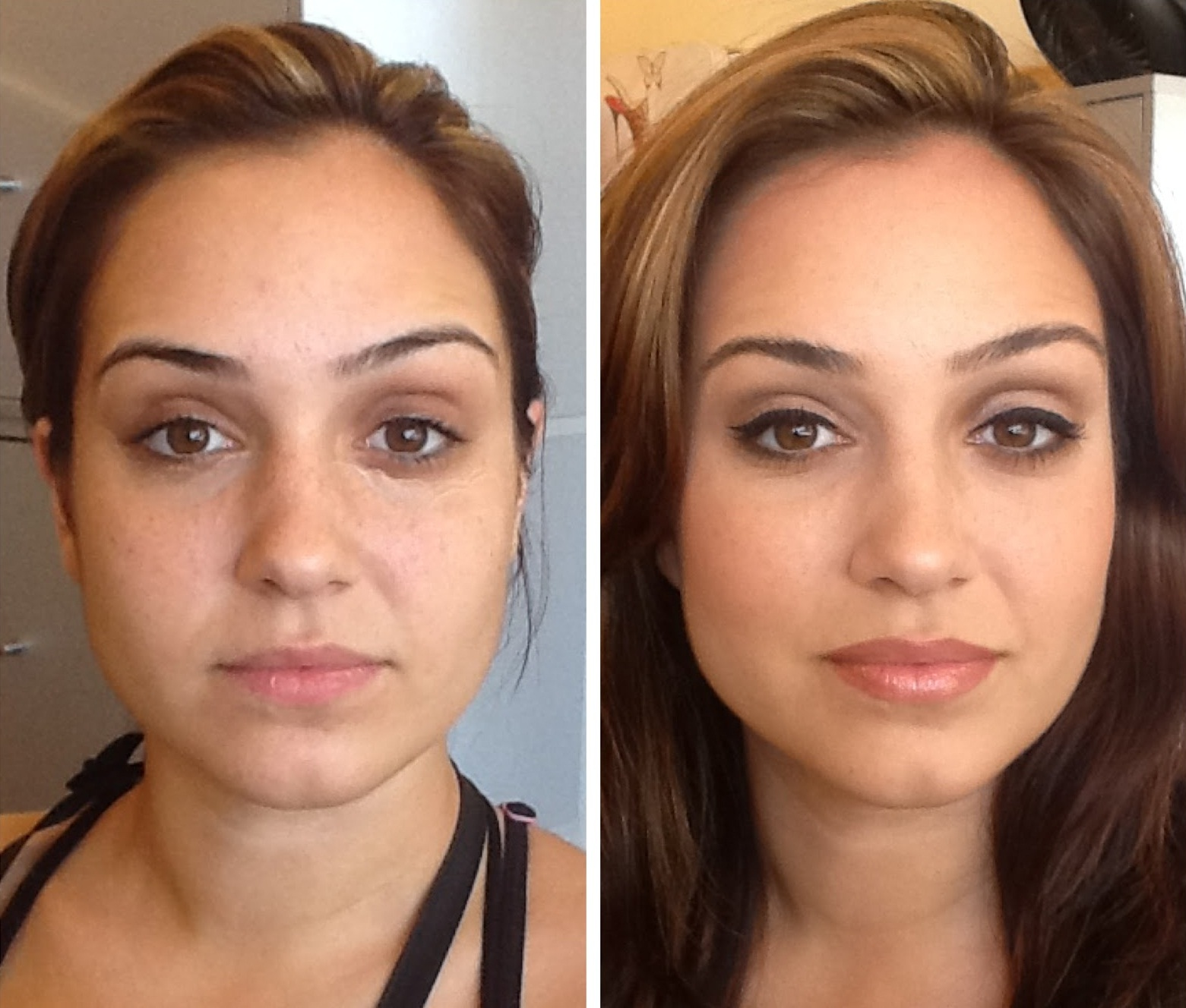 makeup after and without before Girls