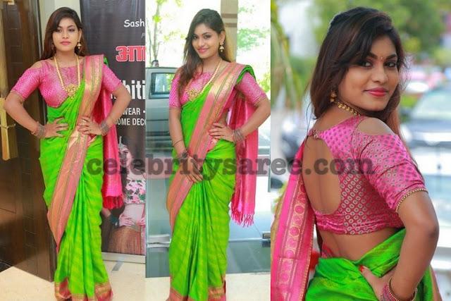 Akritti Green Silk Saree