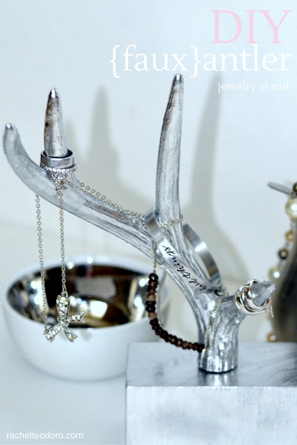 tutorial, easy to make, deer, silver, jewelry holder, organize, spray shelter, homeright