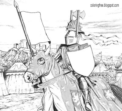 Holy Grail British mythology knight Heroes and Villains on horseback Dark Ages kids coloring pages