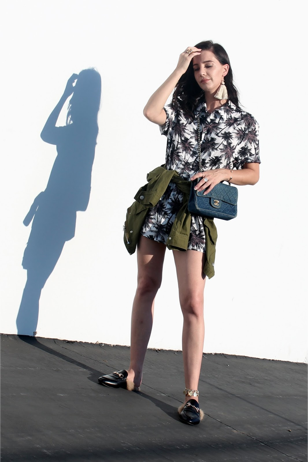 shirt dress, loafers, army jacket, denim purse