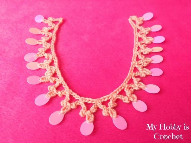 Sequined Crochet Trim/ Necklace Oriental Spirit - Free Pattern + Tutorial