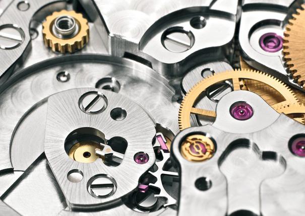 close up photo  of a rolex mechanical watch movement