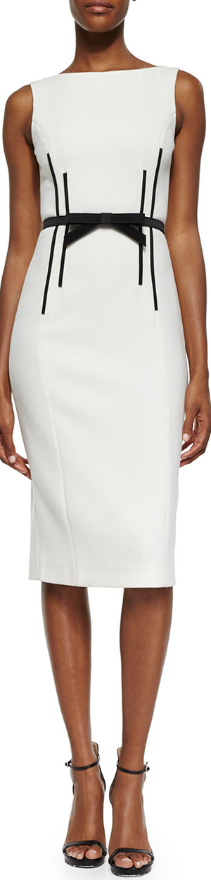 Michael Kors Sleeveless Sheath Dress w/Bow Belt white
