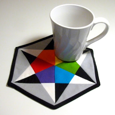 hexagon color wheel mug rug three