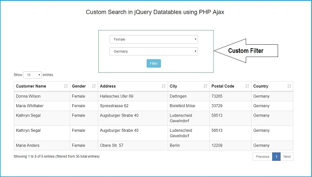 Add Server-side DataTables Custom Filter using PHP with Ajax