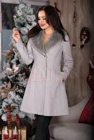 Palton elegant gri accesorizat cu blanita detasabila • Raspberry Fashion