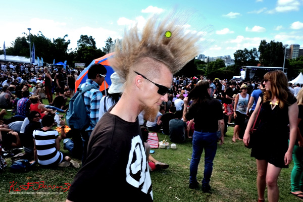 Mohawk hair at Newtown festival. Photography by Kent Johnson.