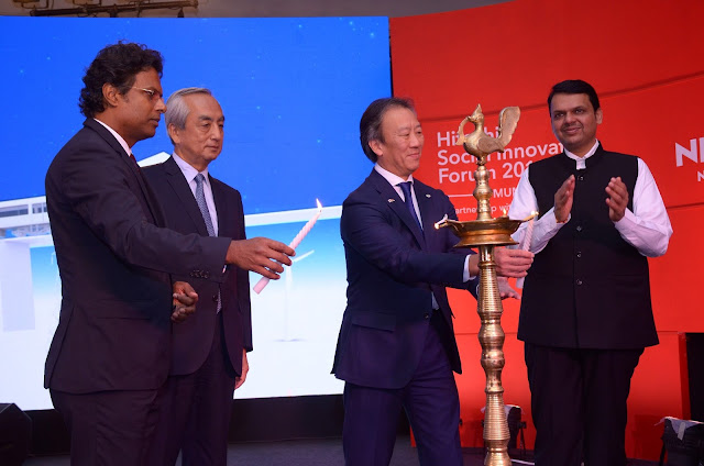 (L-R) Mr. M K Anand, Managing Director and CEO of Times Network, , His Excellency Mr. Kenji Hiramatsu, Ambassador of Japan to India, Mr. Kojin Nakakita, Managing Director, Hitachi India & Shri Devendra Fadnavis, Hon'ble Chief Minister of Maharashtra, Lighting the lamp at the Inauguration Ceremony of Hitachi Social Innovation Forum 2016