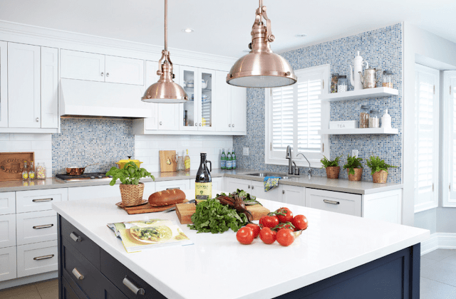 Best Painted Kitchen Cabinet Ideas - Blue White Copper